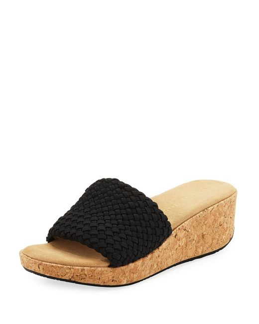Adrienne Vittadini - Black Davis Woven Platform Sandal - Lyst
