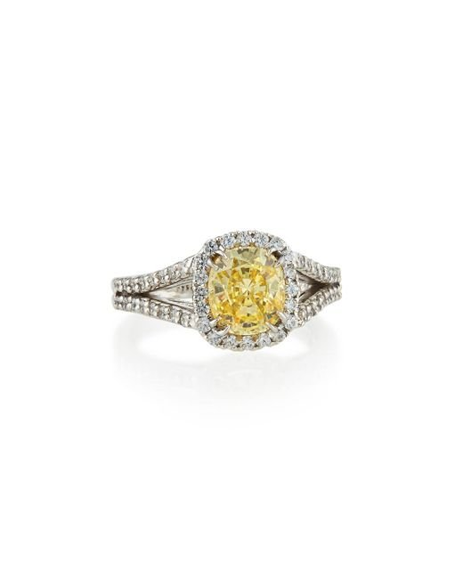 Fantasia by Deserio - Multicolor Split-shank Pave Cushion-cut Ring - Lyst