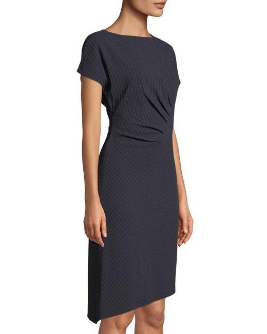 a3ecacec ... Tahari - Blue Pin Stripe Draped Front Sheath Dress - Lyst ...