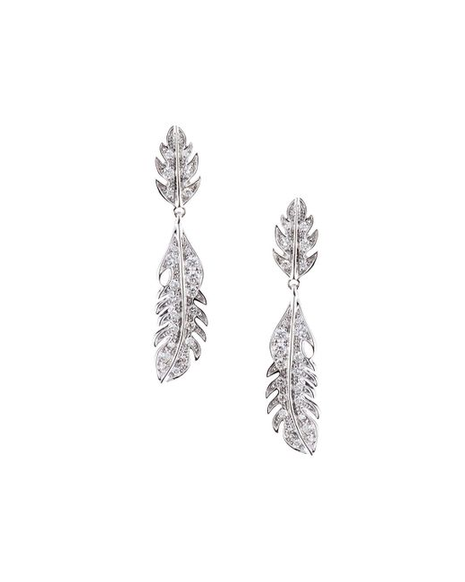 Mimi So - White Phoenix 18k Pave Diamond Feather Drop Earrings - Lyst