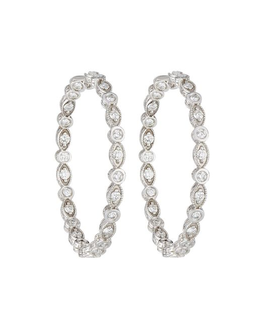 Penny Preville   18k White Gold Marquise & Round Diamond Hoop Earrings   Lyst