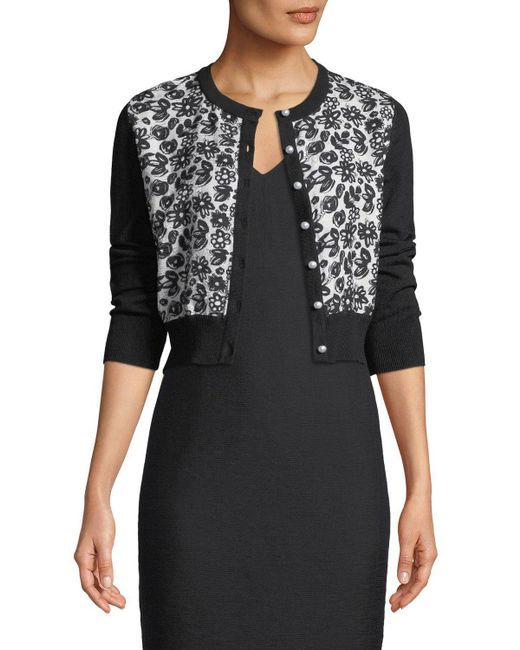 Karl Lagerfeld - Black Contrast Lace-front Shrug Cardigan - Lyst