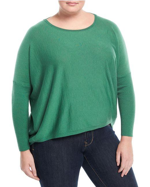 Lafayette 148 New York - Green Wool Ribbed-back Dolman Sweater - Lyst