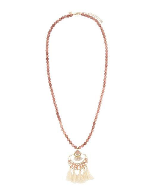 Panacea - Multicolor Peach Stone Beaded Necklace W/ Ivory Tassel - Lyst