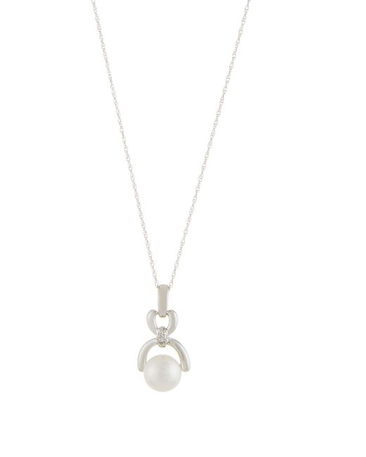 Belpearl   14k White Gold Freshwater Pearl & Diamond Pendant Necklace   Lyst