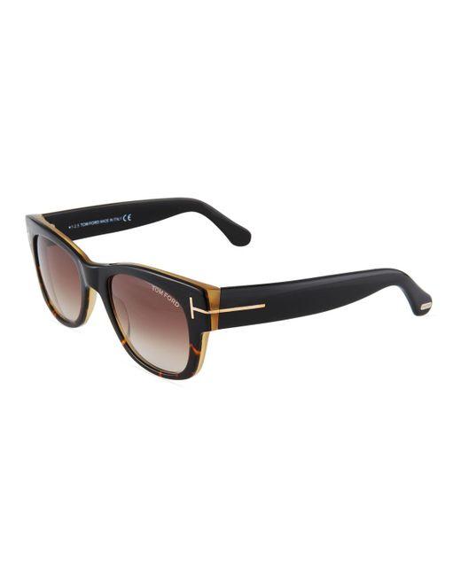 Tom Ford - Black Round Acetate Sunglasses - Lyst