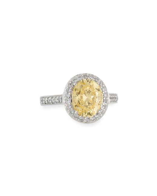 Fantasia by Deserio | Metallic Oval-cut Canary Yellow Cz Pave Ring | Lyst