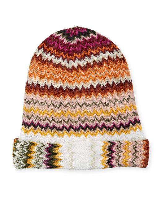 fbb0277096f Missoni - Multicolor Zigzag Wool-blend Beanie Hat - Lyst