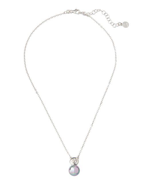 Majorica Gray Pearl & Crystal Pendant Necklace