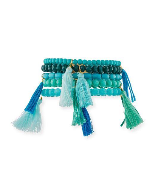 Panacea | Blue Beaded Tasseled Stretch Bracelets | Lyst
