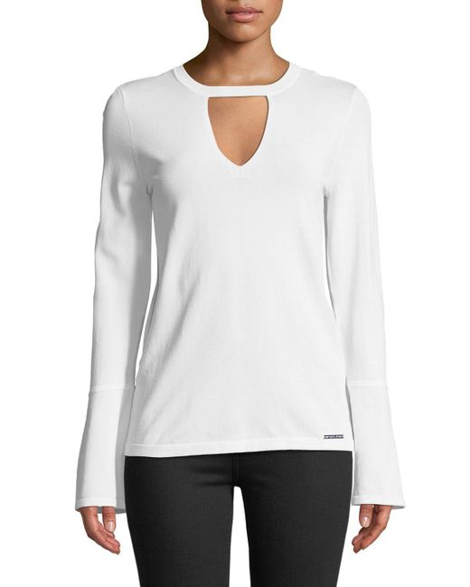 MICHAEL Michael Kors - White Flare-sleeve Keyhole Sweater - Lyst