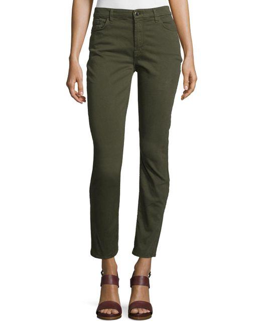 Jen7 | Green Brushed Sateen Skinny Ankle Jeans | Lyst
