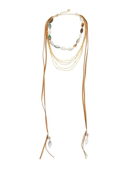 Lydell NYC - Metallic Multi-strand Layered Abalone Choker Necklace - Lyst