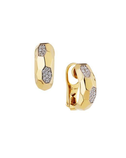Roberto Coin   Metallic Martellato 18k Diamond Half-hoop Earrings   Lyst
