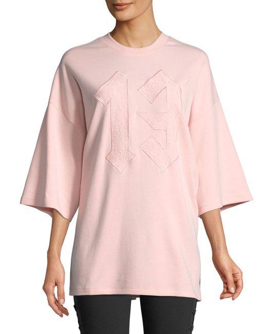 PUMA - Pink Embroidered 13 Oversized Crewneck Tee - Lyst