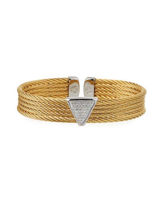 Alor - Metallic Multi-row Bangle W/ Diamond Pave Triangle Golden - Lyst