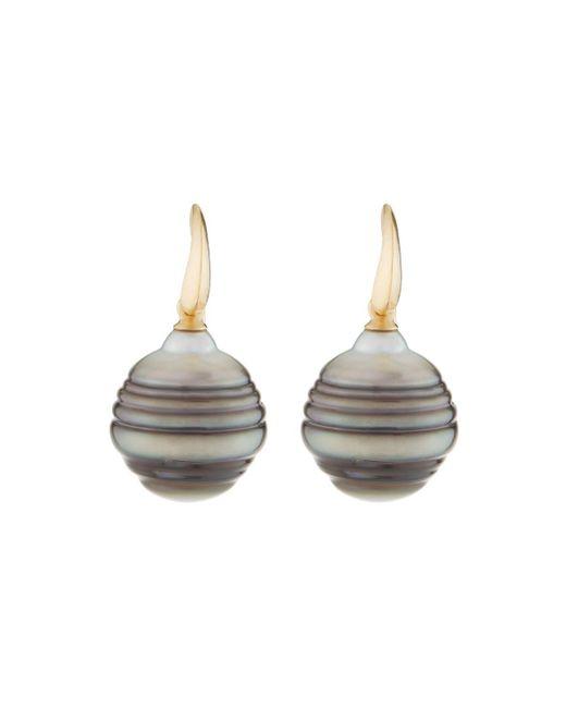 Belpearl - 14k Gray Tahitian Pearl Drop Earrings - Lyst