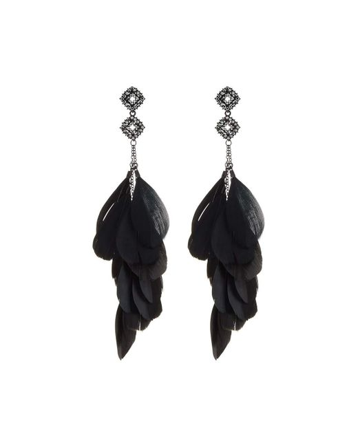 Romeo and Juliet Couture | Black Double Kite-shaped Feather Chandelier Earrings | Lyst