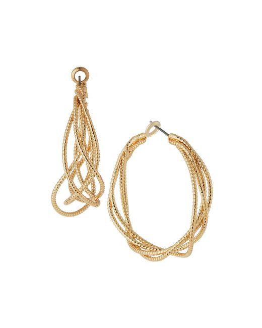 Kenneth Jay Lane | Metallic Satin Textured Hoop Earrings | Lyst