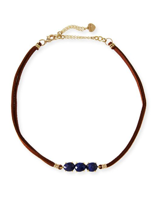 Nakamol   Blue Braided Leather & Lapis Choker   Lyst