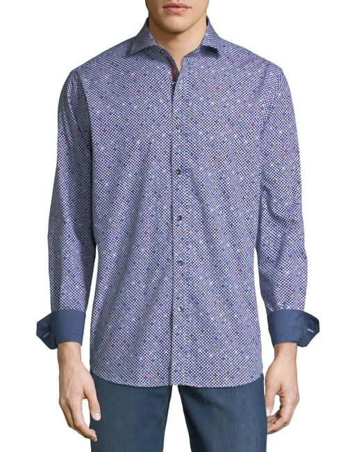 Bugatchi - Blue Classic-fit Long-sleeve Dots Sport Shirt for Men - Lyst