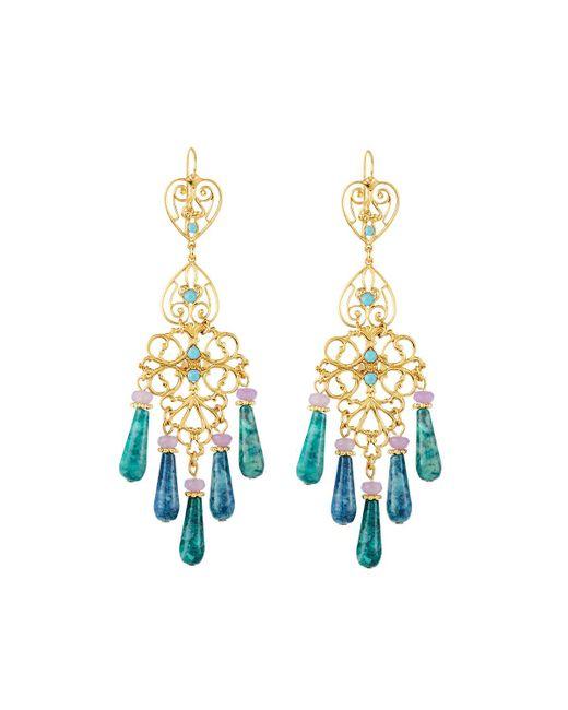 Jose & Maria Barrera - Blue Agate & Crystal Filigree Chandelier Earrings - Lyst