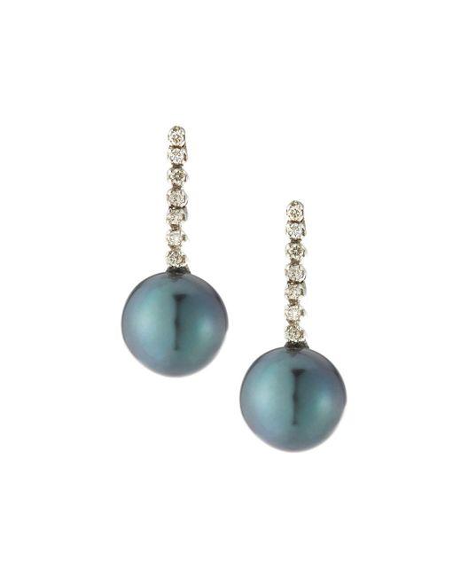 Belpearl - 14k White Gold Diamond Stick & Pearl Earrings - Lyst