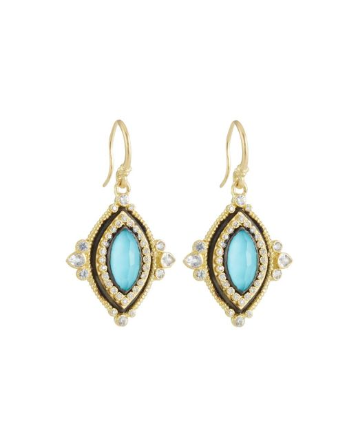 Armenta - Blue Old World Turquoise & Diamond Marquise Drop Earrings - Lyst