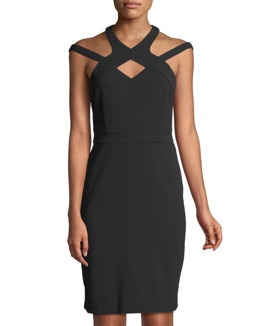 Cece by Cynthia Steffe - Black High-neck Cutout Scuba Dress - Lyst