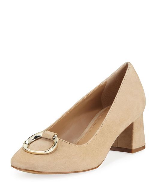 Elie Tahari - Brown Mavis Suede Low-heel Pumps With Buckle Detail - Lyst