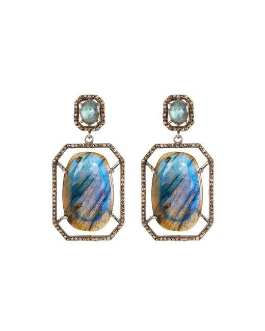 Bavna   Blue Octagonal Labradorite & Diamond Drop Earrings   Lyst