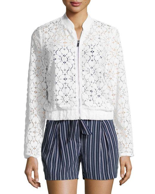 Laundry by Shelli Segal | White Semisheer Lace Bomber Jacket | Lyst