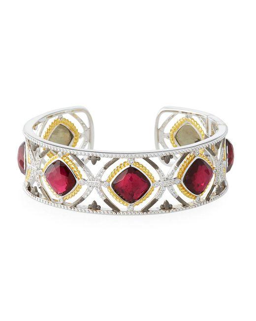 Jude Frances - Metallic Cushion-stone Cuff Bracelet - Lyst