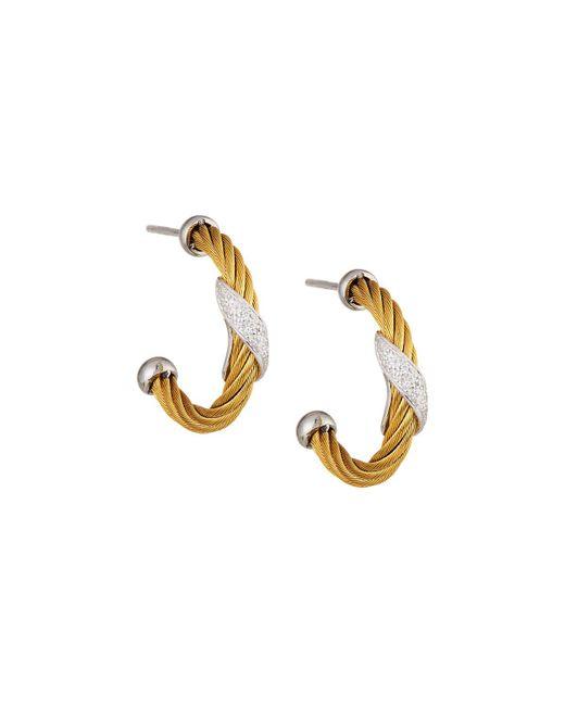 Alor - Metallic Classique Yellow Steel & 18k Diamond Twist Hoop Earrings - Lyst