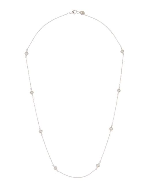 Jude Frances - 18k Lisse Delicate Cushion Necklace With White Topaz - Lyst