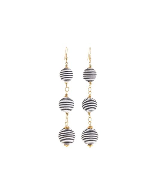 Nakamol - White Striped Triple-sphere Dangle Earrings - Lyst