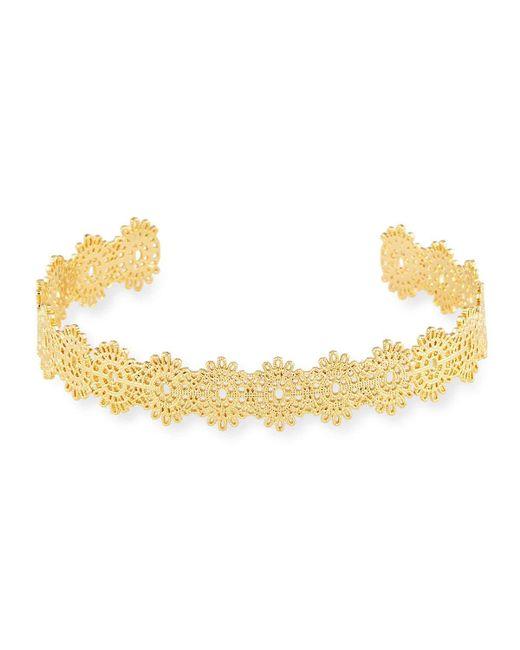 Panacea | Metallic Golden Floral Lace Cuff | Lyst