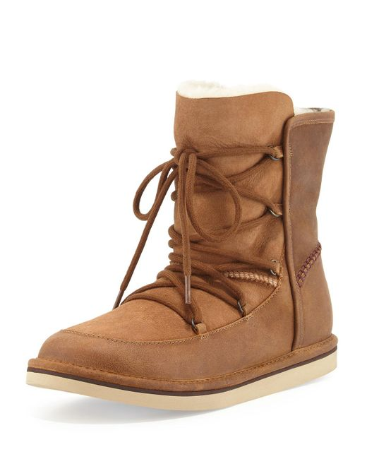 Ugg - Brown Lodge Fur-lined Lace-up Boots - Lyst