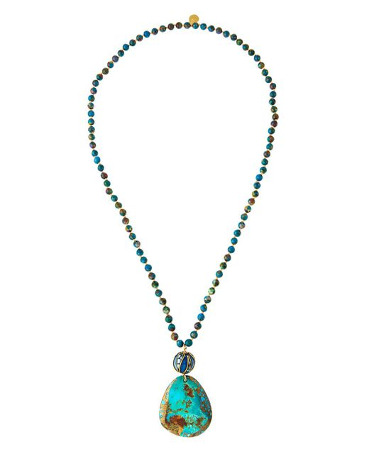 Devon Leigh - Blue Long Compressed Turquoise Beaded Pendant Necklace - Lyst