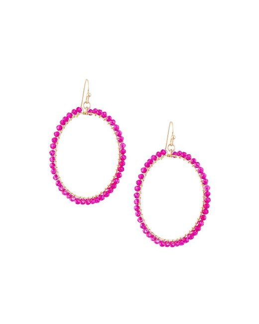 Panacea   Pink Wire-wrapped Crystal Circle Drop Earrings   Lyst