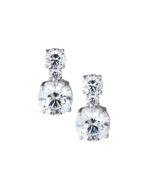 Fantasia by Deserio - Round White Cz Drop Earrings - Lyst