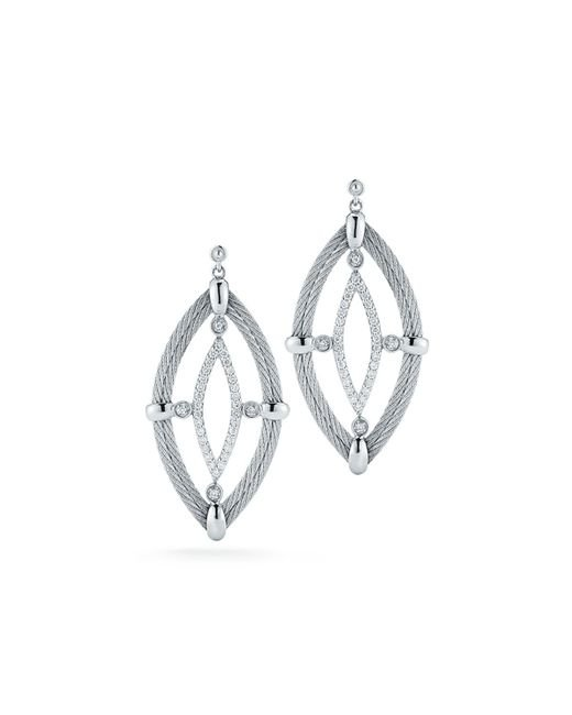 Alor - Gray 18k Diamond & Cable Marquise Drop Earrings - Lyst