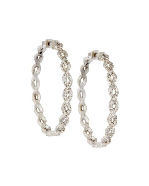 Penny Preville | Metallic 18k Infinity Diamond Hoop Earrings | Lyst