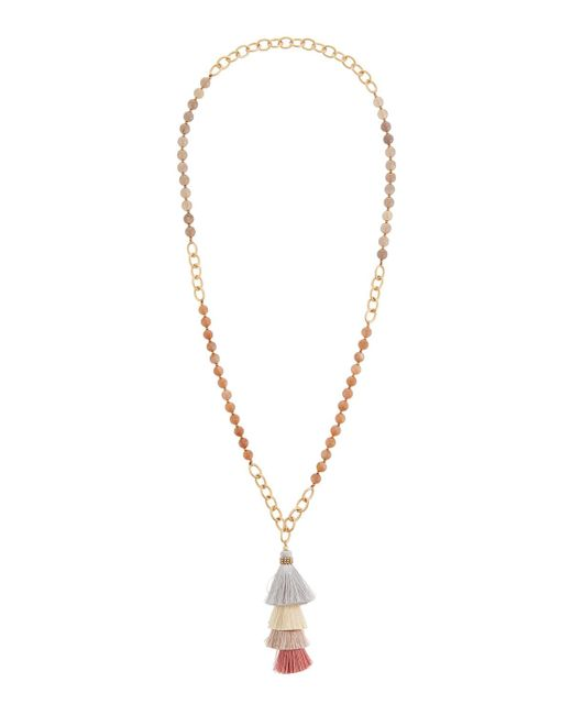 Panacea - Metallic Stacked Tassel Pendant Necklace - Lyst