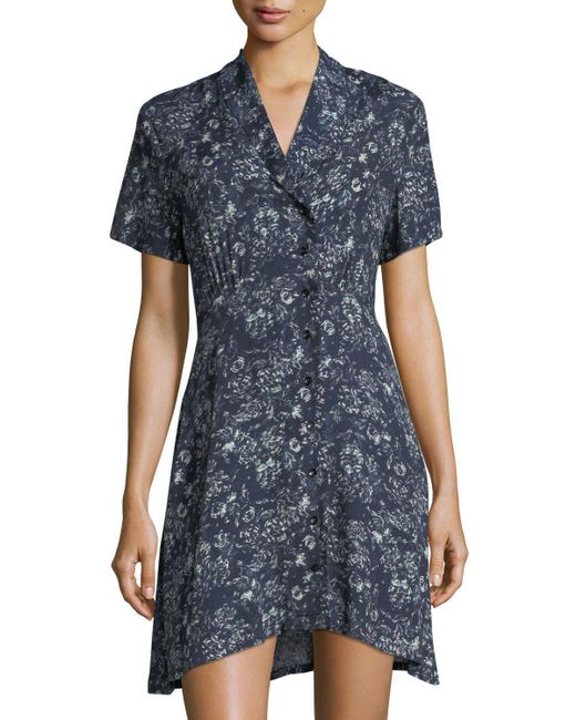 Knot Sisters | Blue Susan Button-front Short-sleeve Dress | Lyst