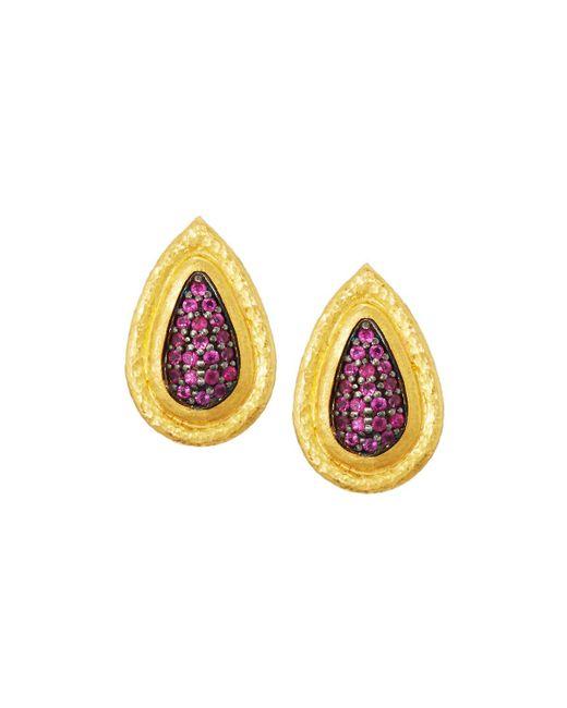 Gurhan | Multicolor Moonshadow 24k Pave Ruby Teardrop Earrings | Lyst