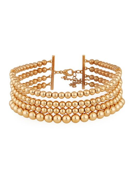 Lydell NYC   Metallic Multi-row Golden Ball Choker Necklace   Lyst