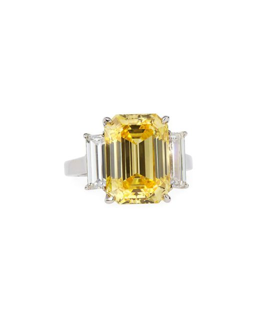 Fantasia by Deserio - Green Emerald-cut Canary Cz Ring W/ Baguettes - Lyst