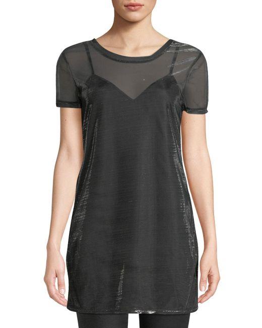 Love, Fire - Metallic Shimmer Mesh T-shirt Dress - Lyst
