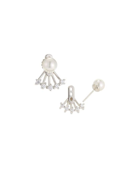 Majorica - White Cubic Zirconia Plume Pearly Stud Earrings - Lyst